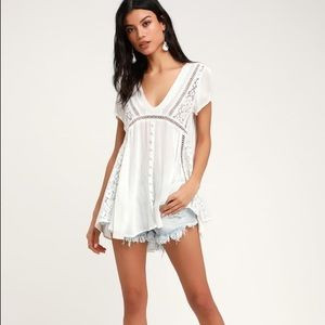 Take A Walk ivory sheer lace tunic -Sage the Label